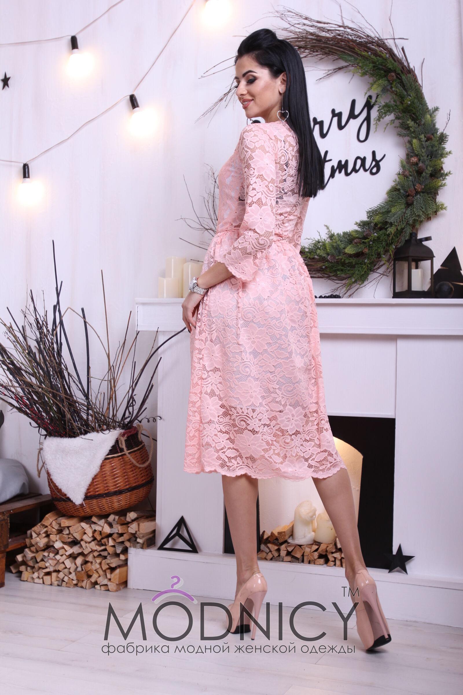 31db34bf554 Купить Гипюровое платье миди 3674 персик цвет