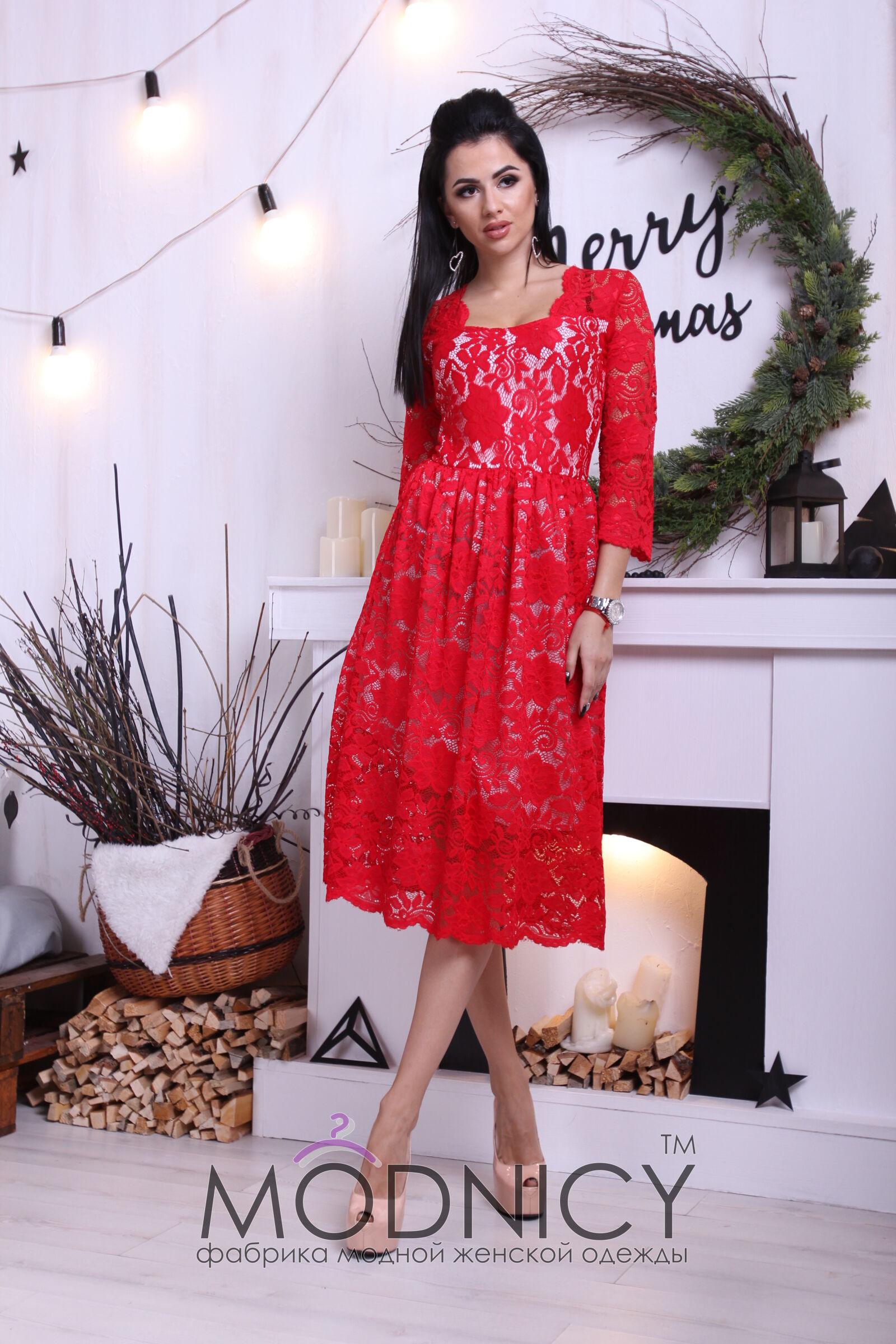 be9a6f63e48 Купить Гипюровое платье миди 3674 красный цвет