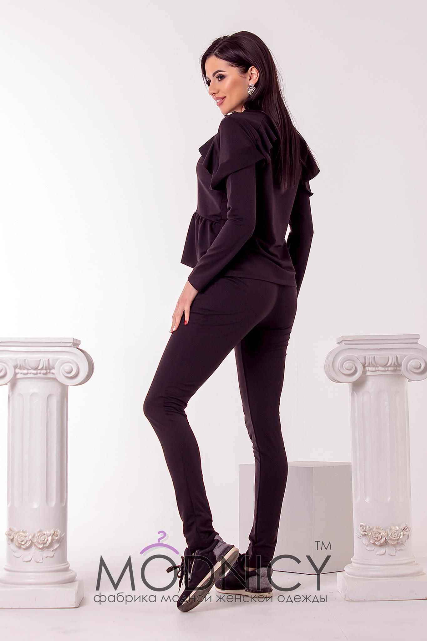 bd3e58be Купить Стильный женский спортивный костюм 3703 черный цвет