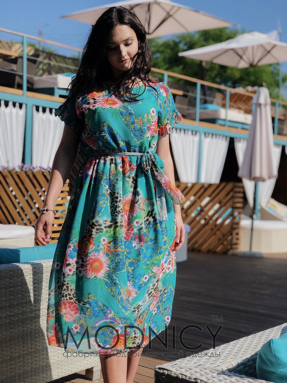 7356e7f08474cf Купити Шифонове плаття довжини міді 04057 зелений колір